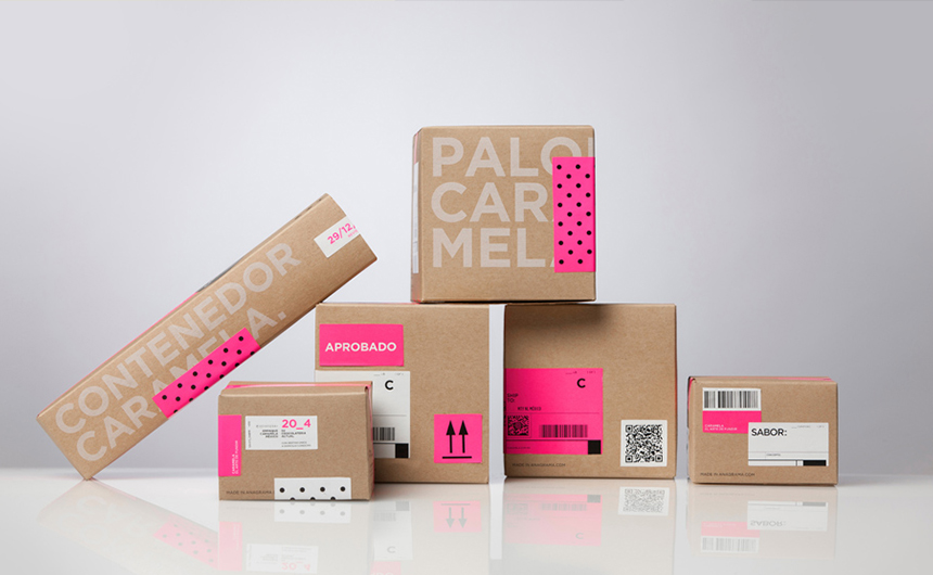 Kraft and pink packaging boxes for Caramela by Anagrama | Viva Mexico!