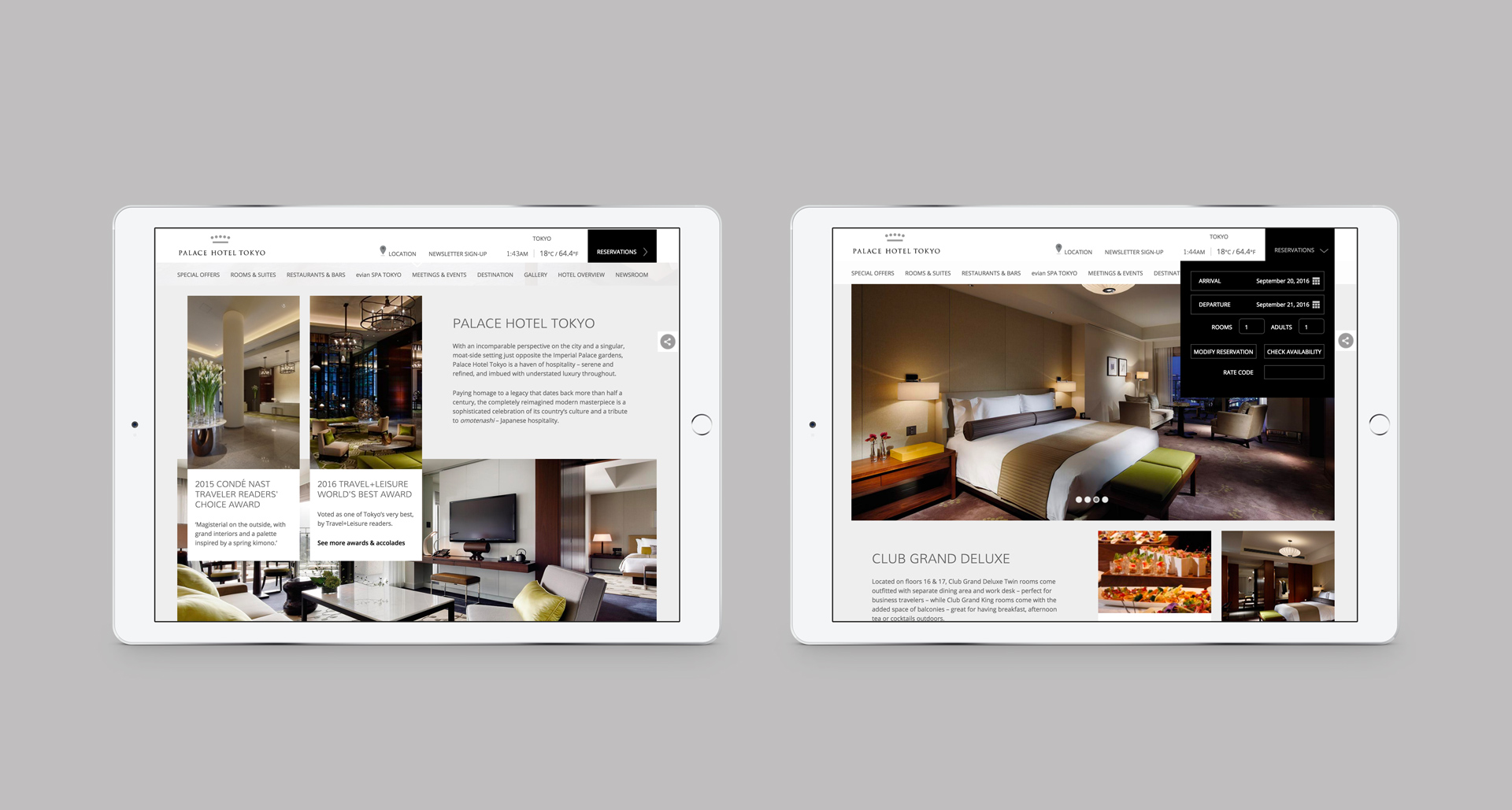 Website Design and Development | Palace Hotel Tokyo | iPad Booking Screen