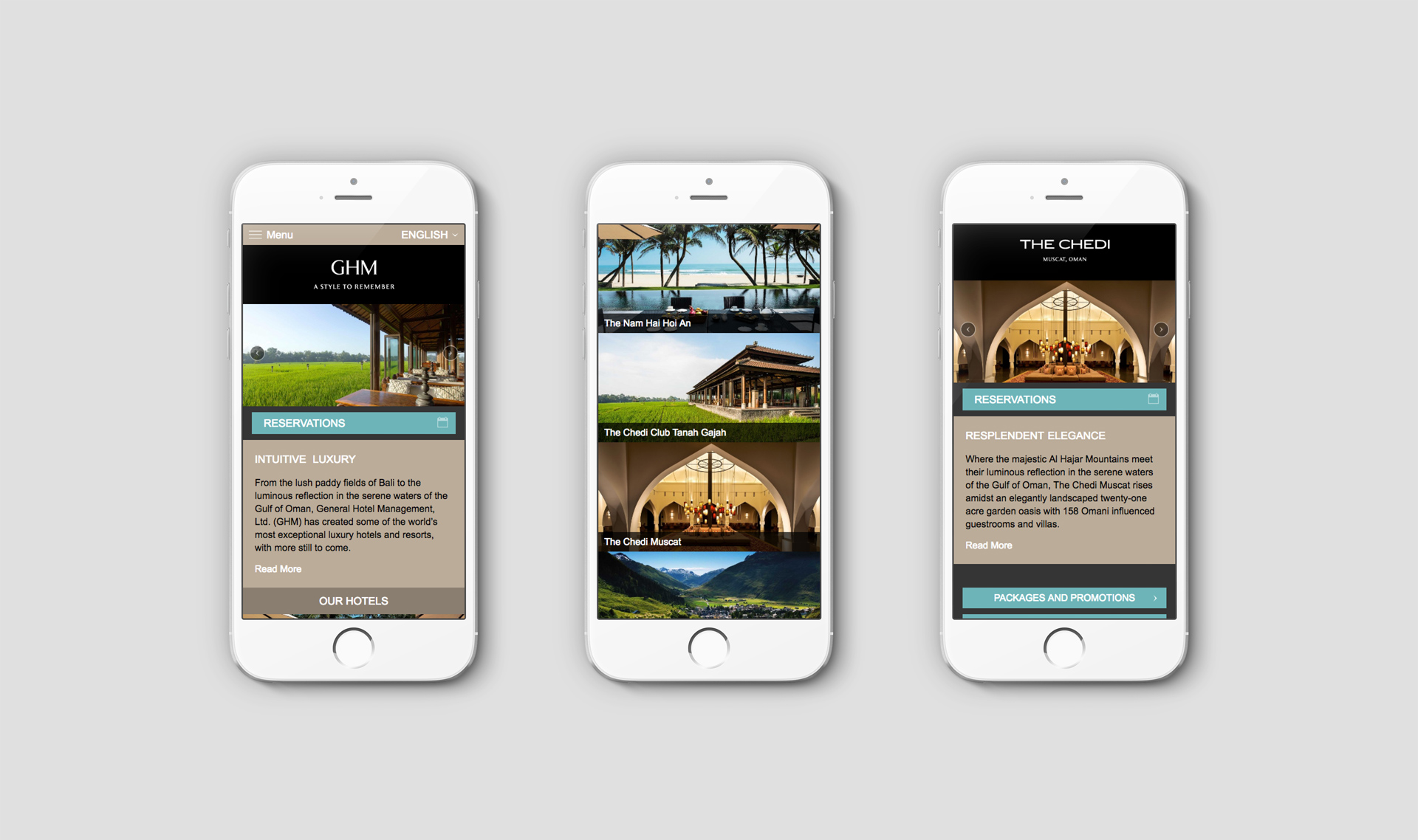Responsive website viewed on 3 iPhones | Luxury hotel marketing | General Hotel Management