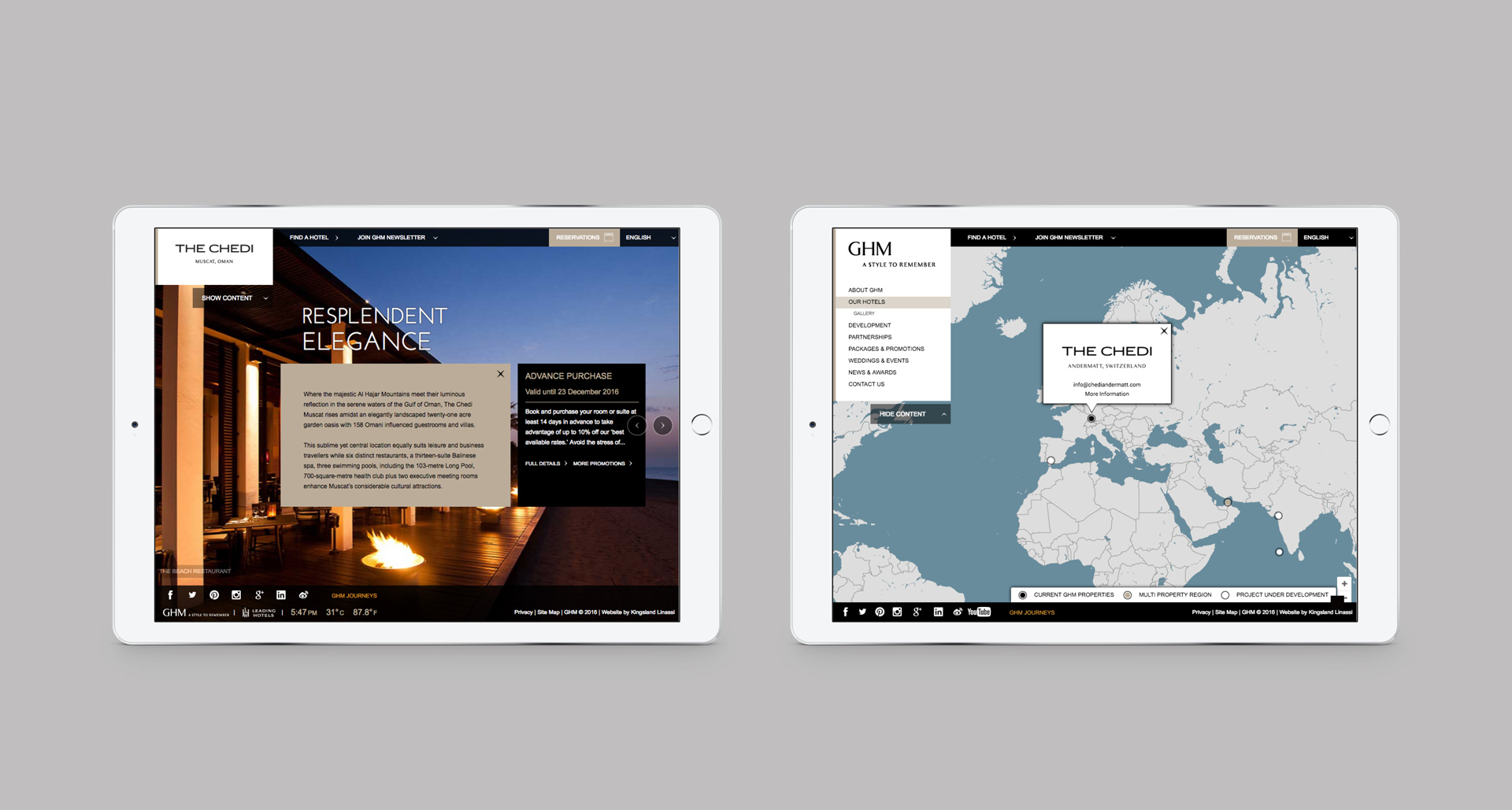 Responsive website viewed on a pair of iPads | Luxury hotel marketing | General Hotel Management