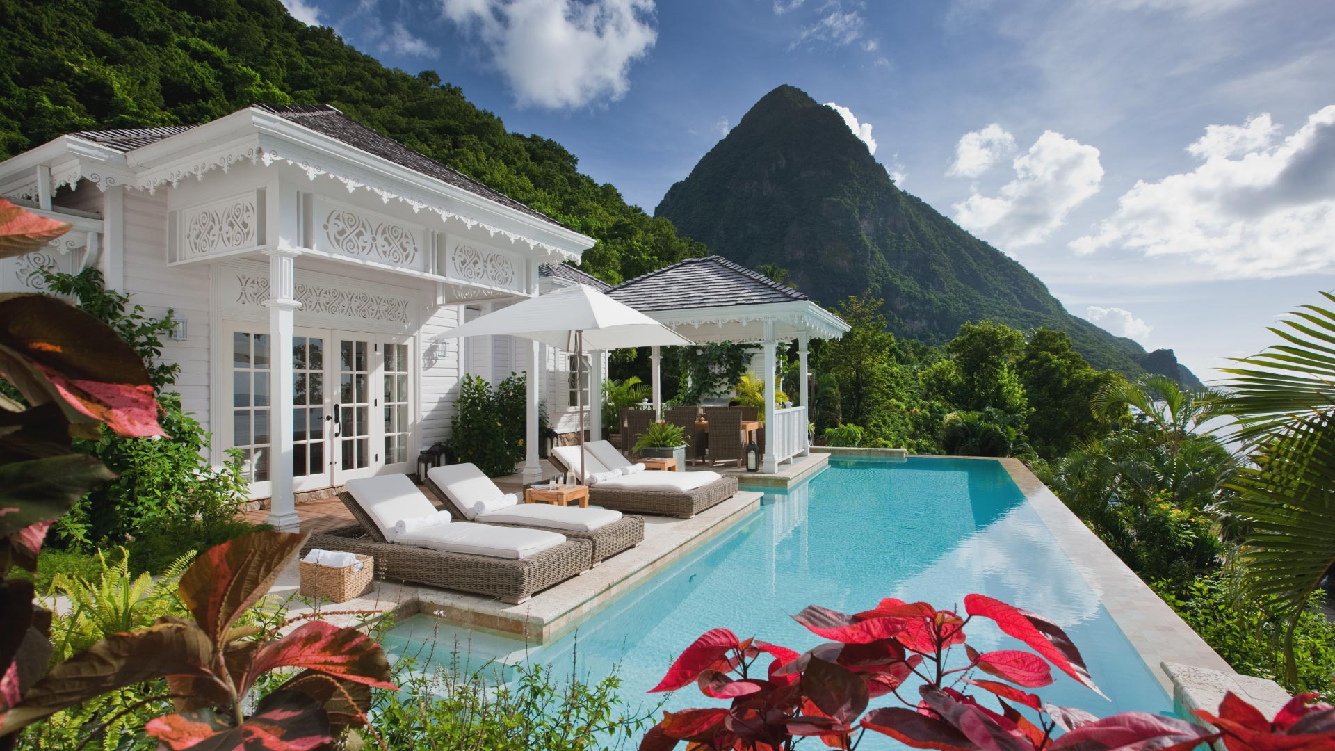 Sugar Beach Residences | Luxury Real Estate Marketing | Pool and Pitons Shot