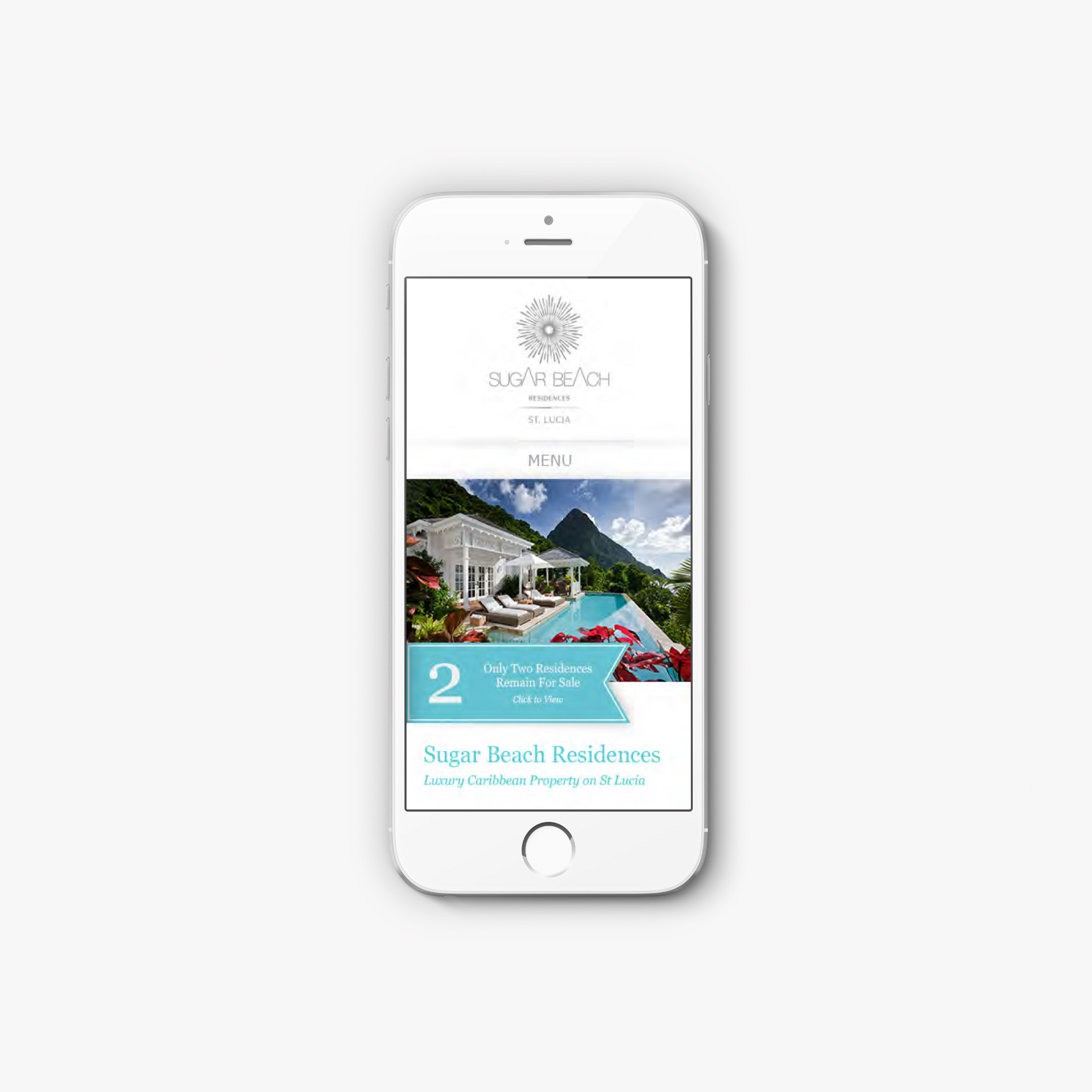 Sugar Beach Residences | Luxury Property Marketing | iPhone Showing Responsive Website