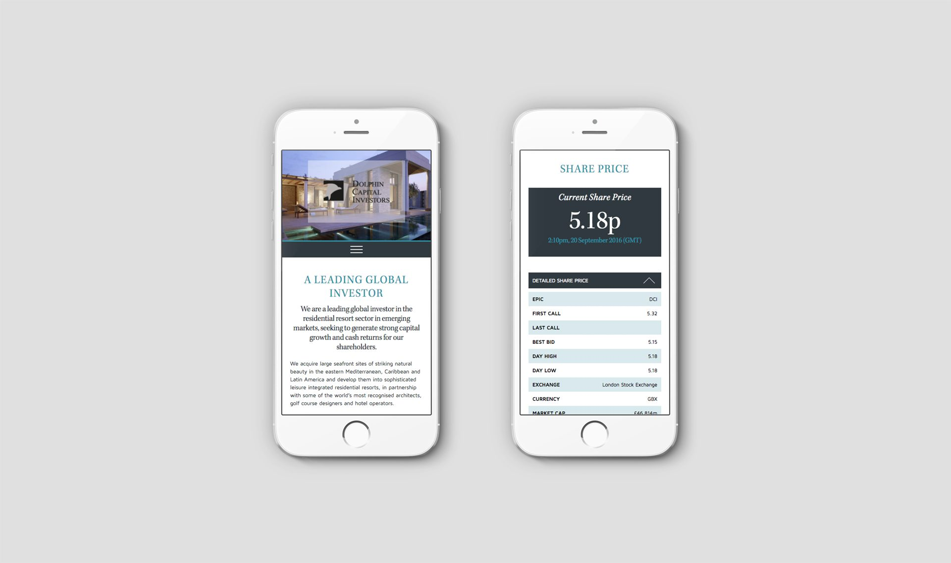 Responsive emailer viewed on a pair of iPhones | Luxury resort marketing | Dolphin Capital Investors