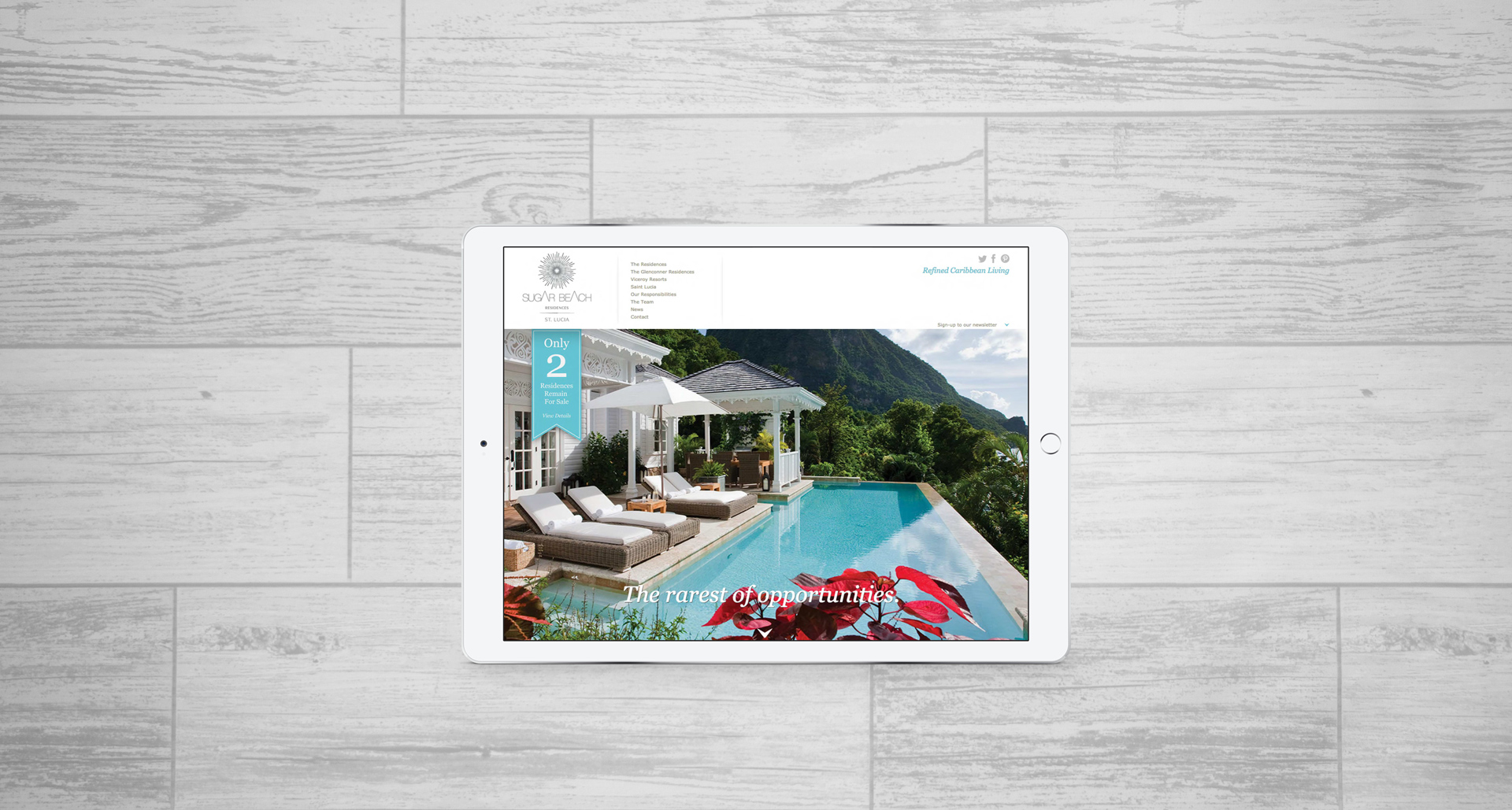 Luxury resort marketing | Sugar Beach Residences | Responsive Website Viewed on an iPad
