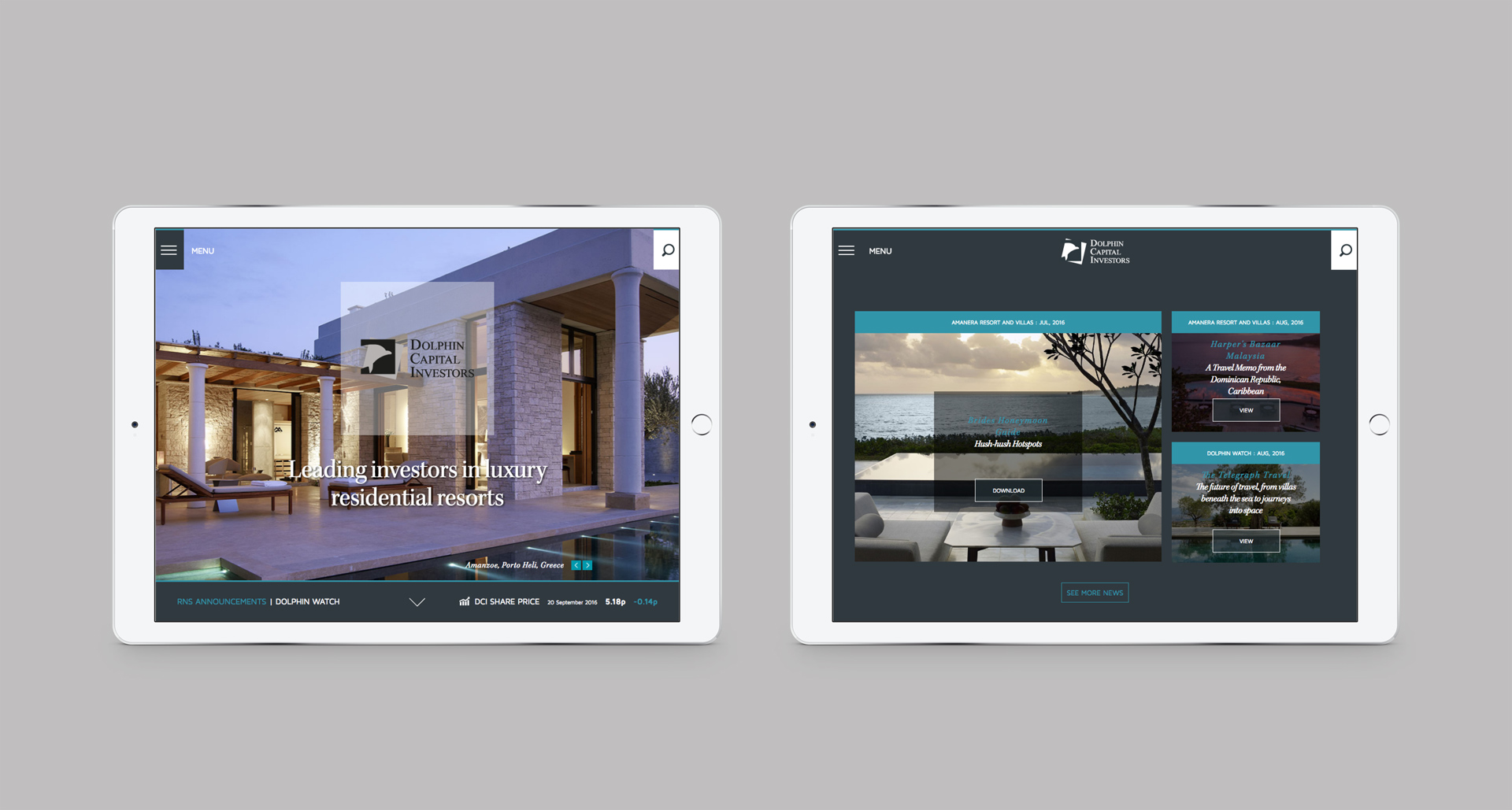 Responsive website viewed on a pair of iPads | Luxury resort marketing | Dolphin Capital Investors
