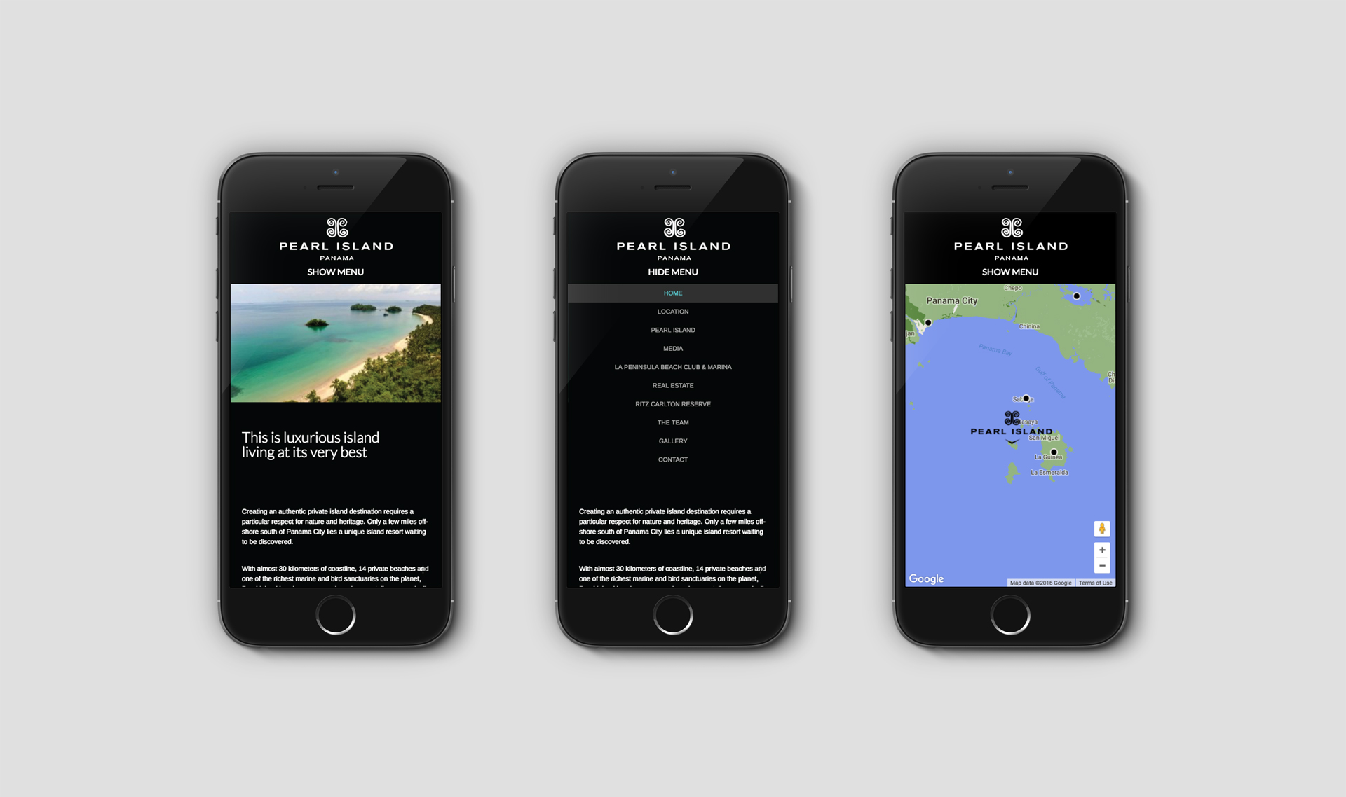 Responsive website viewed on 3 iPhones | Luxury Resort marketing | Pearl Island