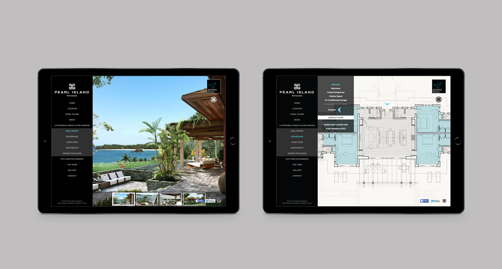 Responsive website viewed on a pair of iPads | Luxury Resort marketing | Pearl Island