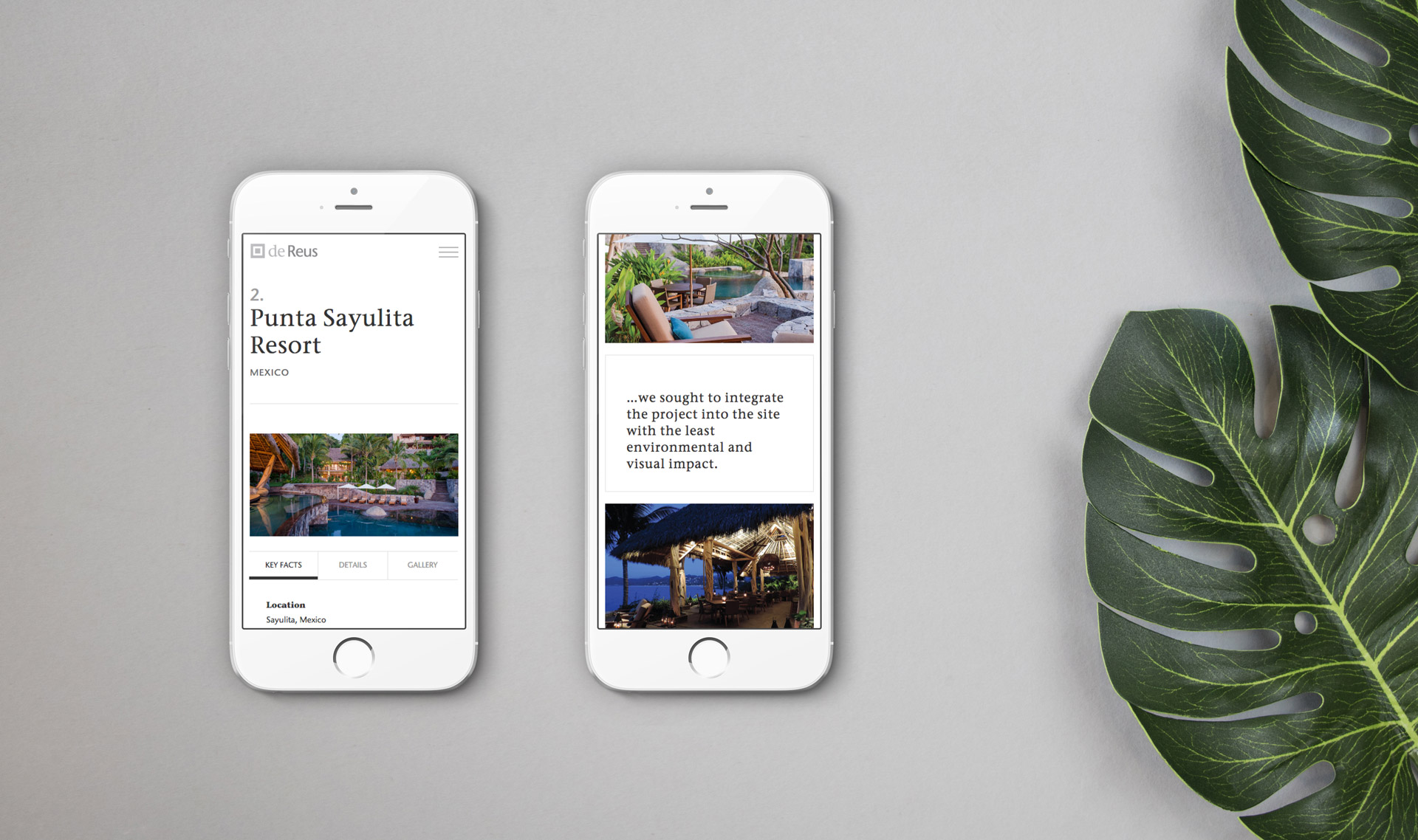 Responsive emailer viewed on a pair of iPhones | Branding | de Reus Architects