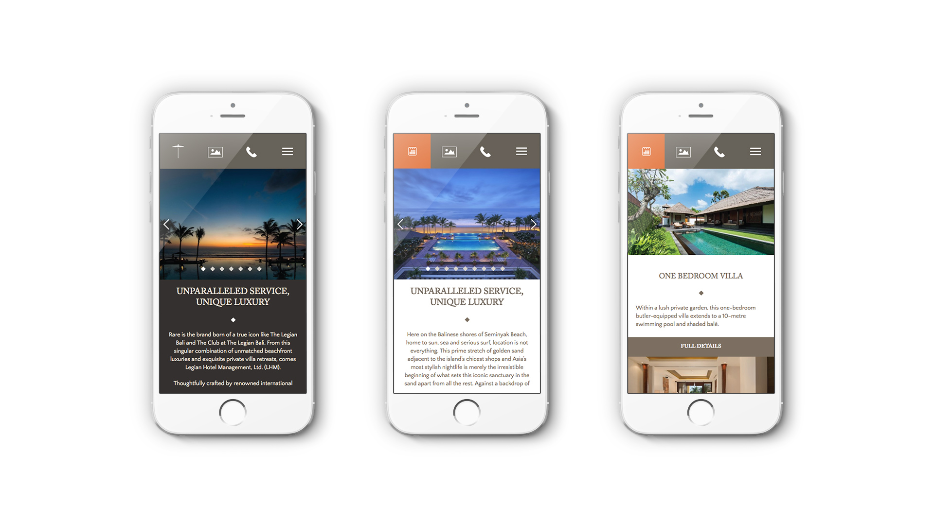 Luxury Hotel Marketing | Legian Hotel Management | Three iPhones Showing Mobile Design