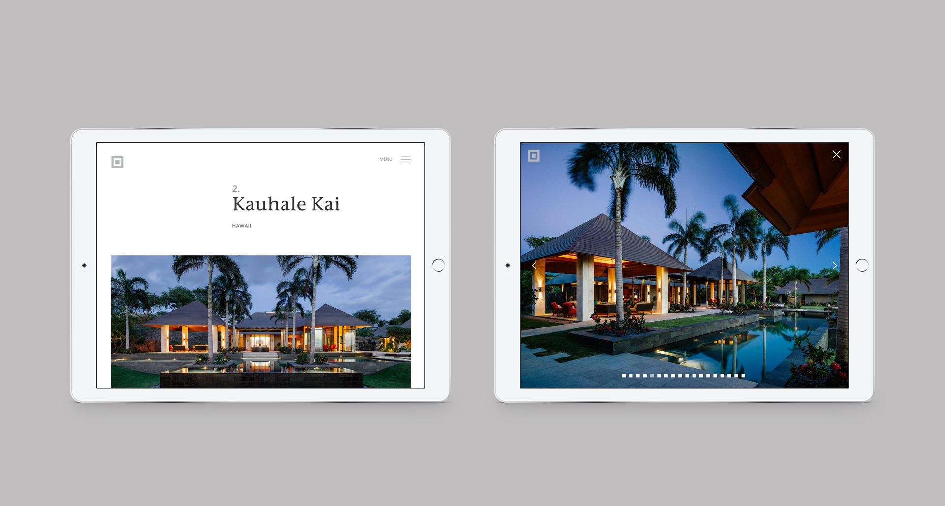 Responsive website viewed on a pair of iPads | Branding | de Reus Architects