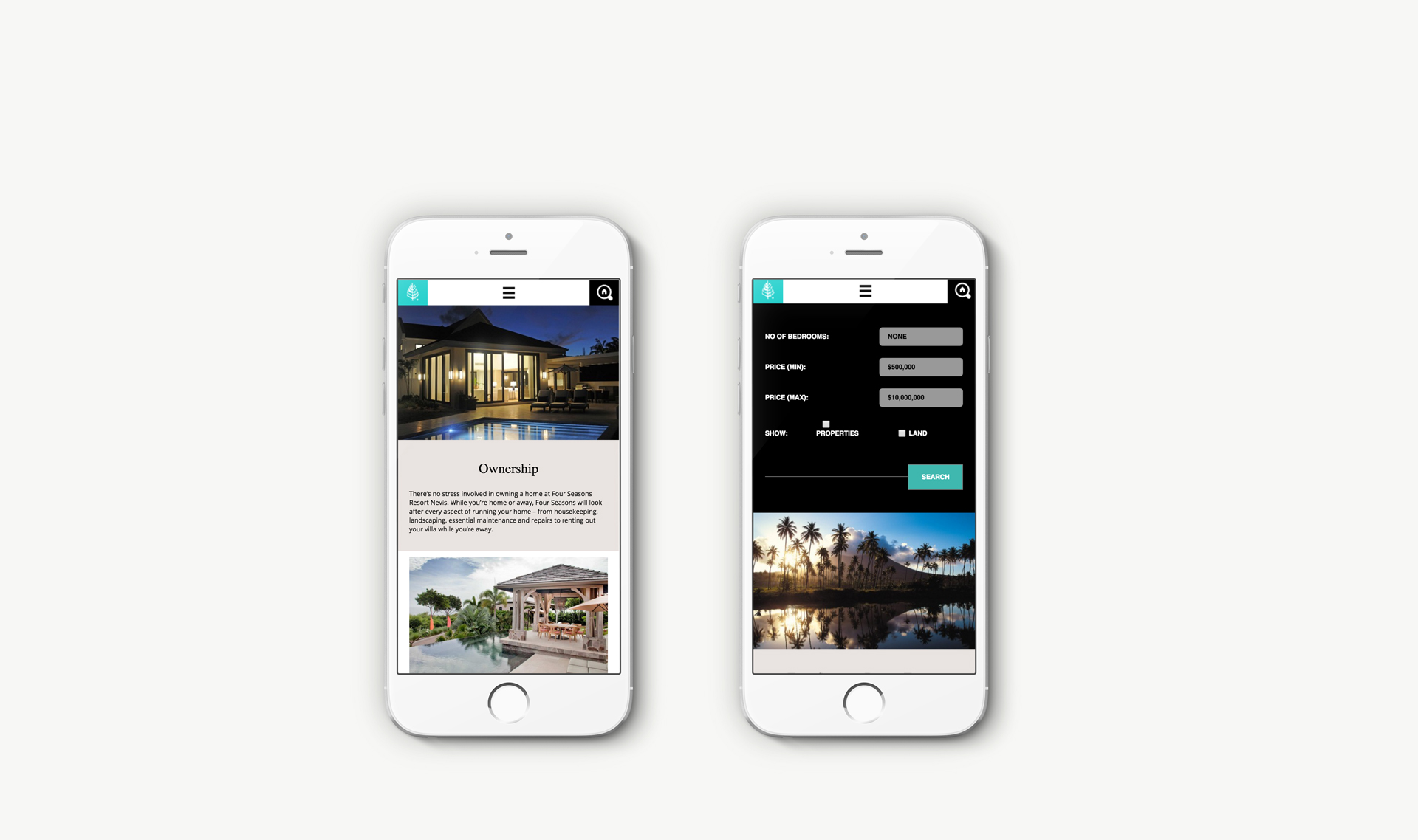 Luxury Property Marketing | Four Seasons Resort Estates | Mobile Responsive Website Shown on iPhone