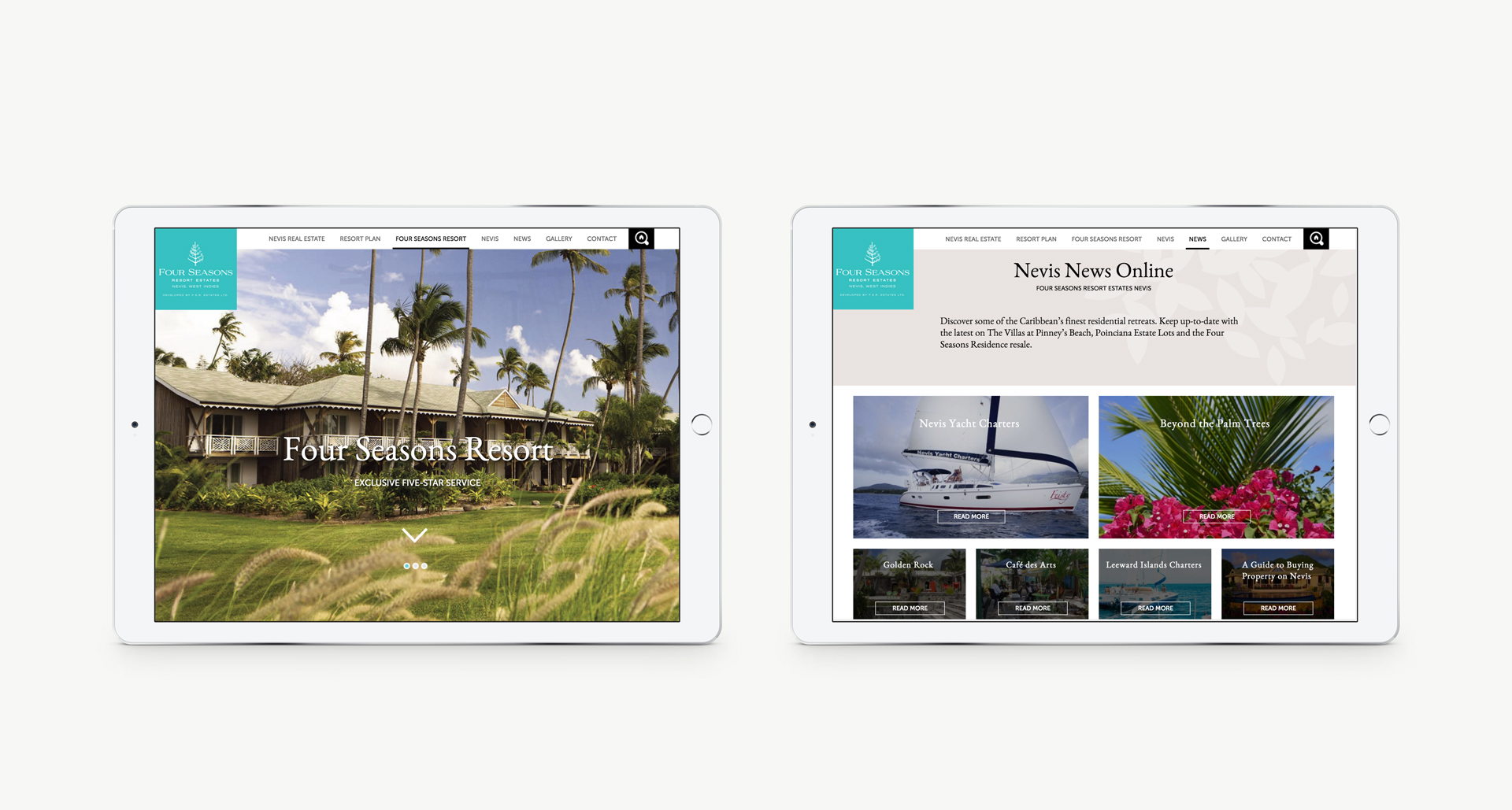 Luxury Property Marketing | Four Seasons Resort Estates | iPad Responsive Website Shown on iPad