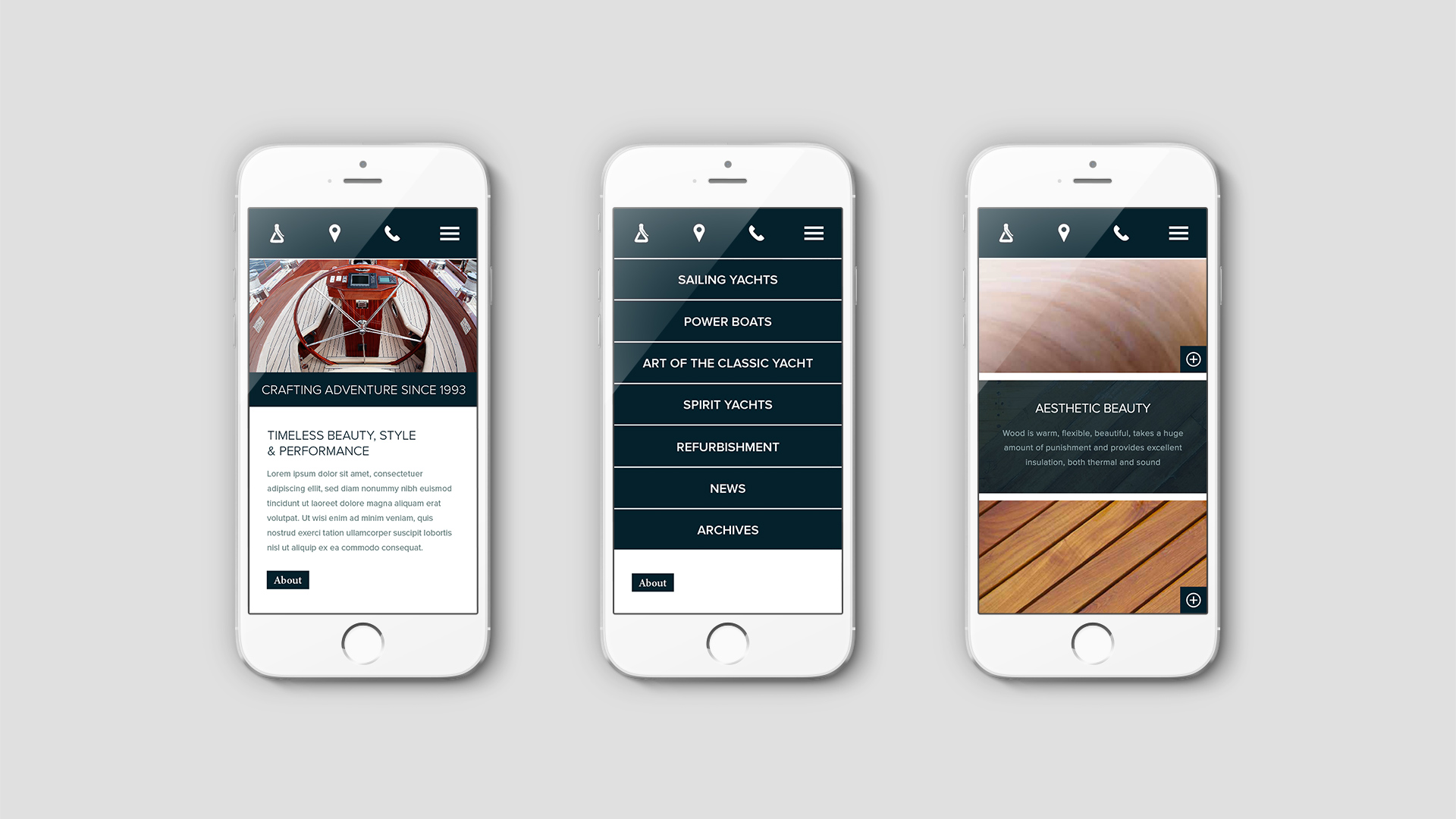 Luxury Yacht Marketing | Spirit Yachts | Three iPhones Showing Responsive Website