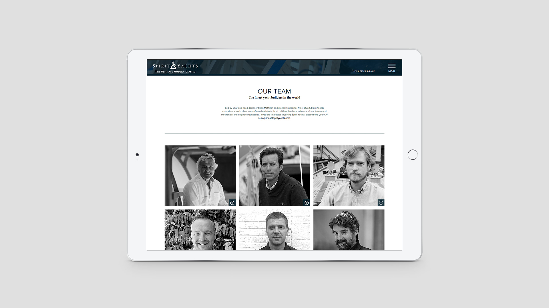 Luxury Yacht Marketing | Spirit Yachts | iPad Showing Responsive Website