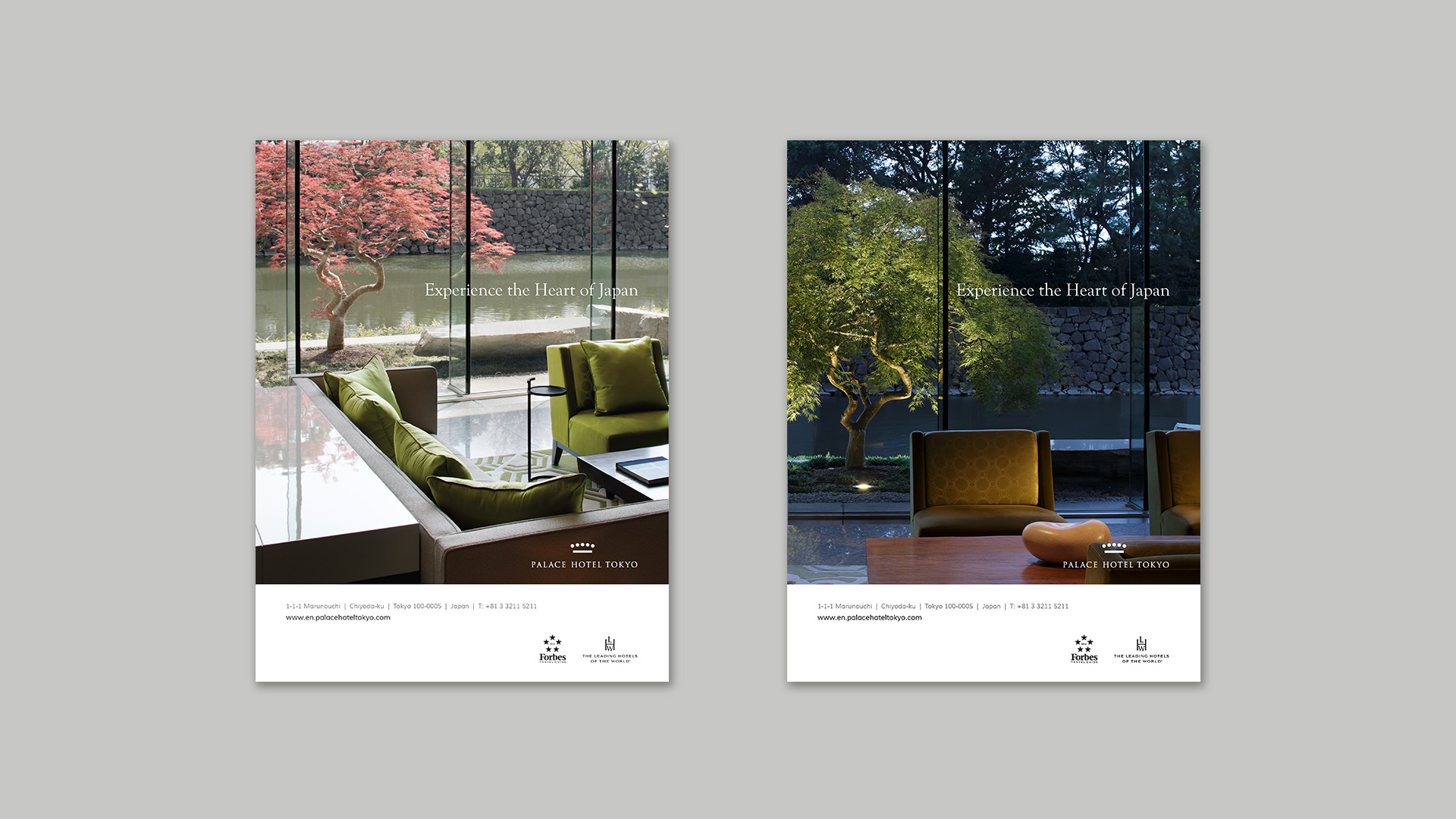 Night and day print advertisments | Luxury hotel print marketing | Palace Hotel Tokyo