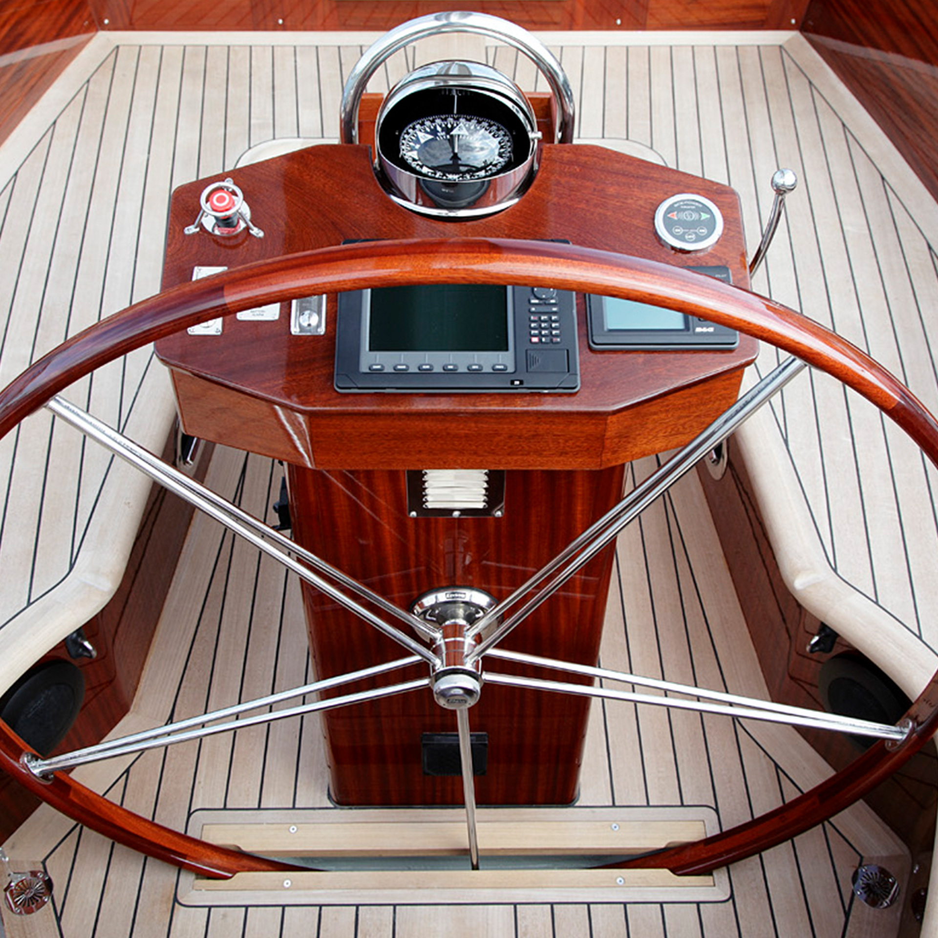 Detail view of a luxury yacht wheel | Luxury yacht marketing | Spirit Yachts