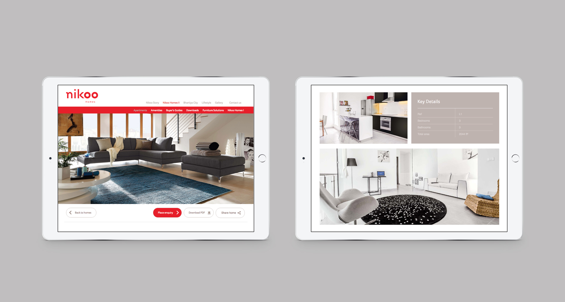 Responsive website viewed on a pair of iPads | Property marketing | Nikoo Homes