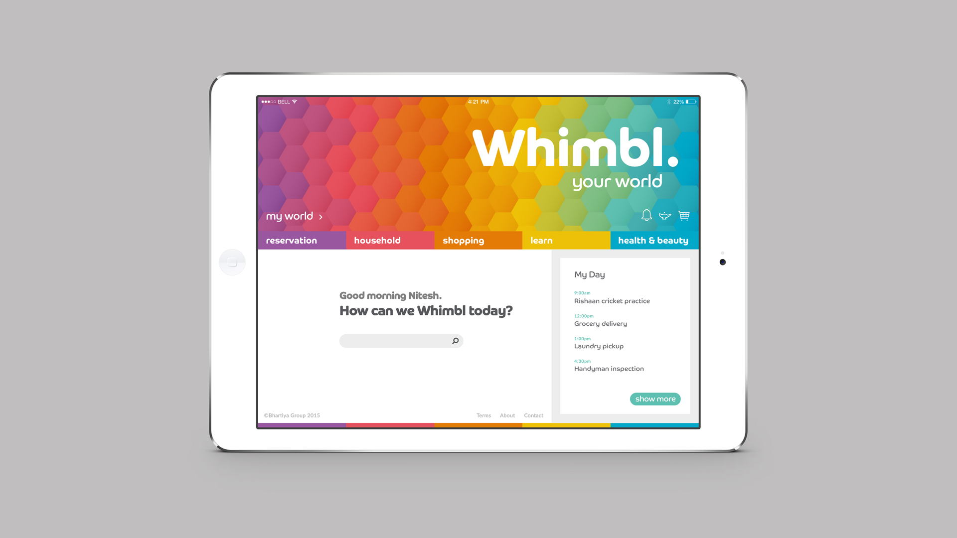 Lifestyle web app viewed on an iPad | Branding and app design | Whimbl