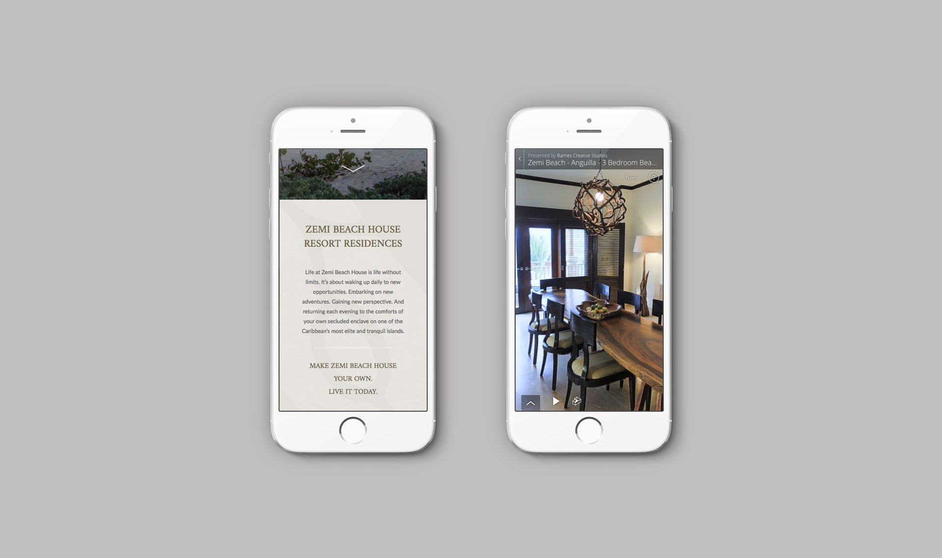 Responsive emailer viewed on a pair of iPhones | Luxury resort marketing | Zemi Beach