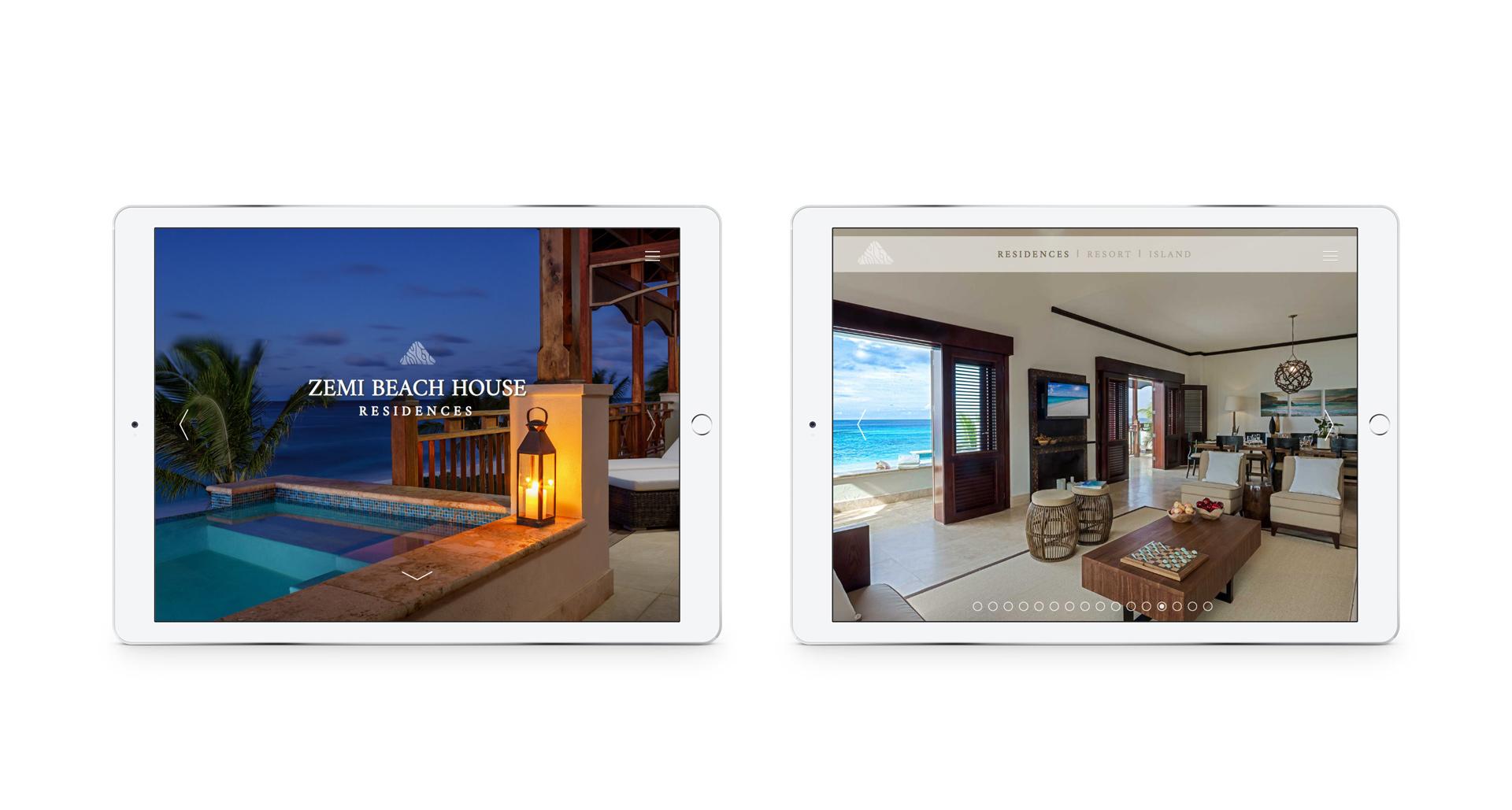 Responsive website viewed on a pair of iPads | Luxury resort marketing | Zemi Beach