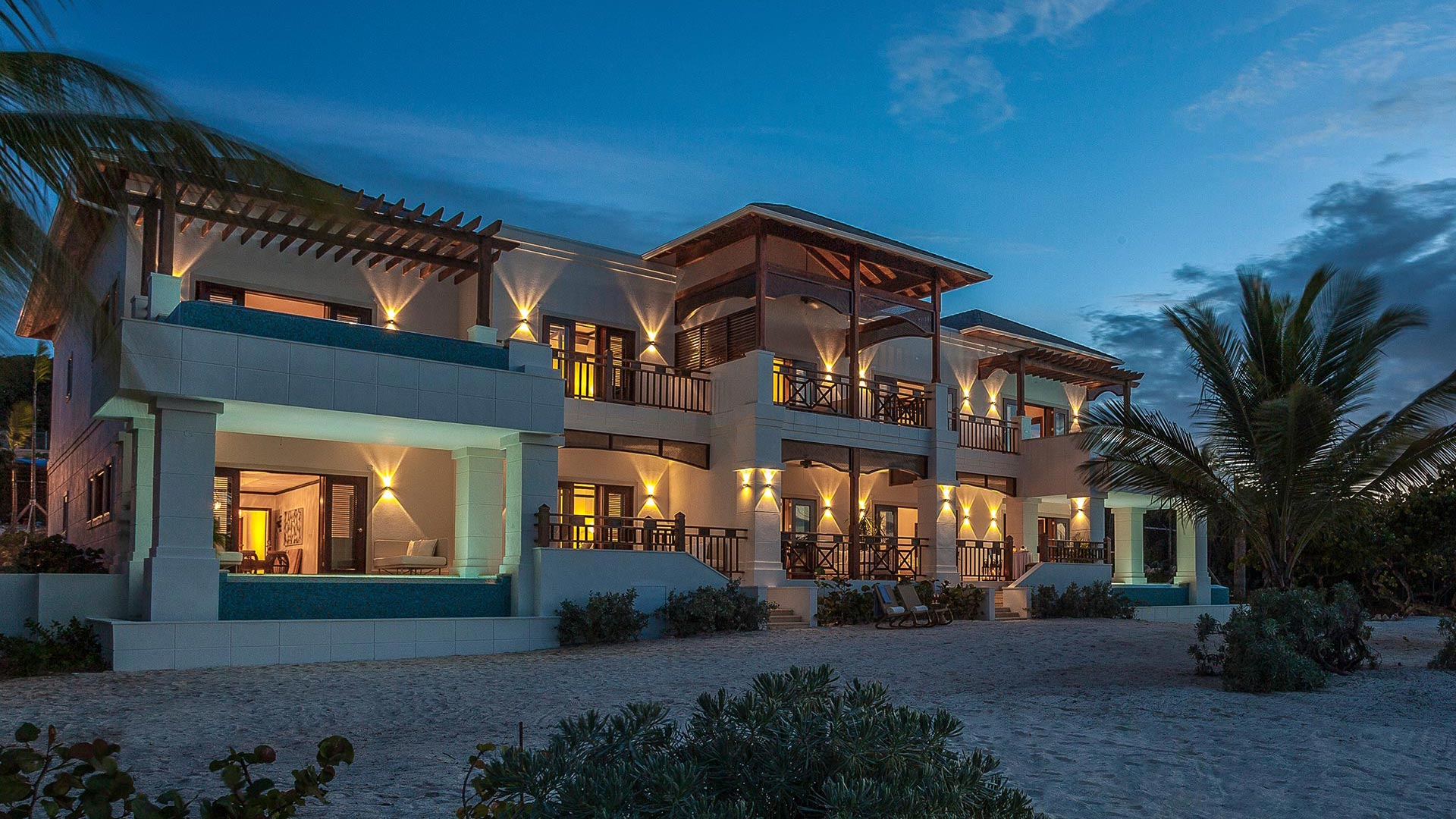 View of luxury Caribbean residence at dusk | Luxury Resort branding | Zemi Beach