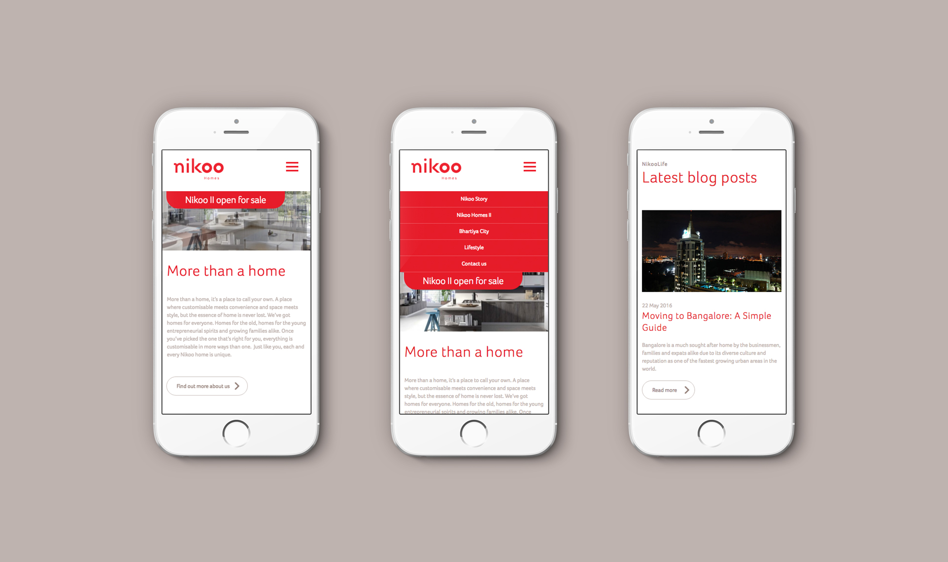 Responsive website viewed on 3 iPhones | Property marketing | Nikoo Homes