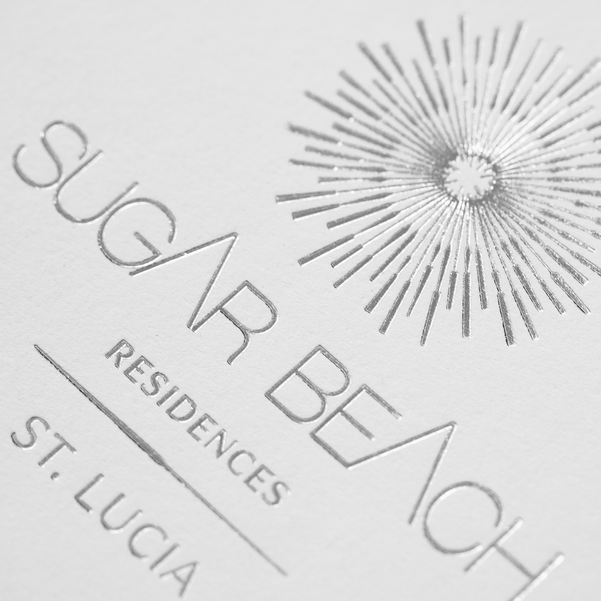 Luxury Real Estate Marketing | Sugar Beach Residences | Foil Logo Words Closeup