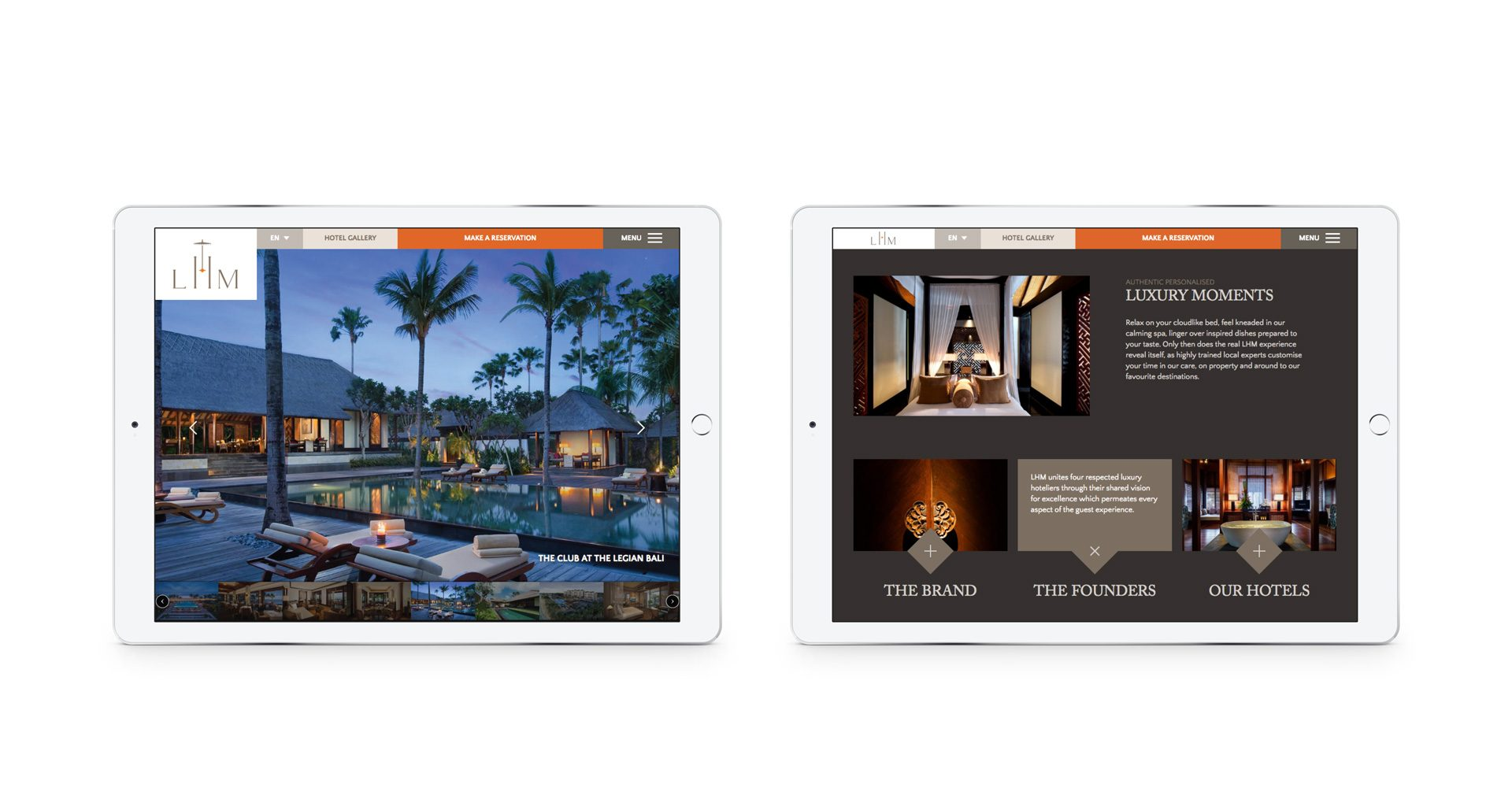Website viewed on a pair of iPads | Luxury hotel marketing | Legian Hotel Management