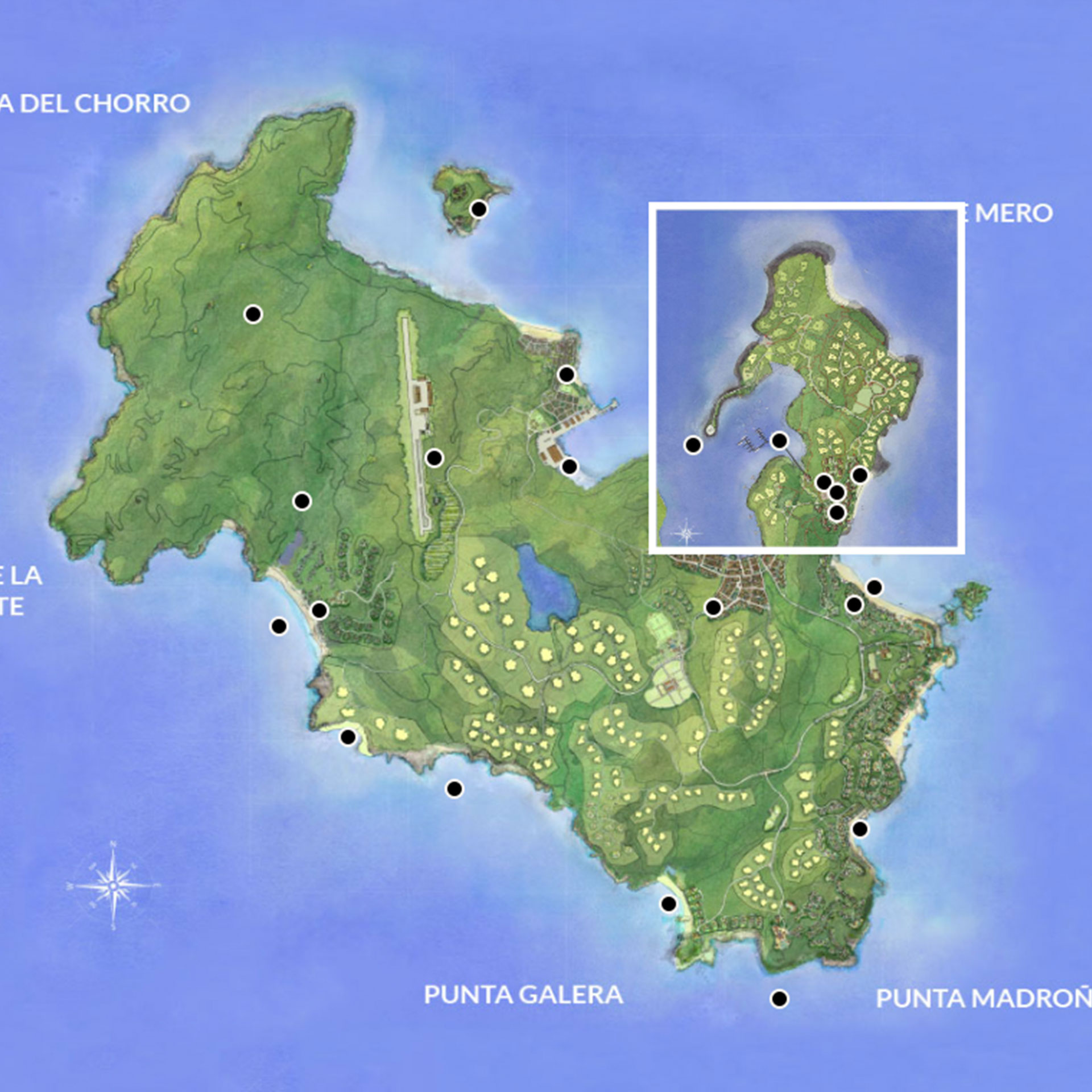 Google map overlaid with custom illustration | Luxury Resort marketing | Pearl Island