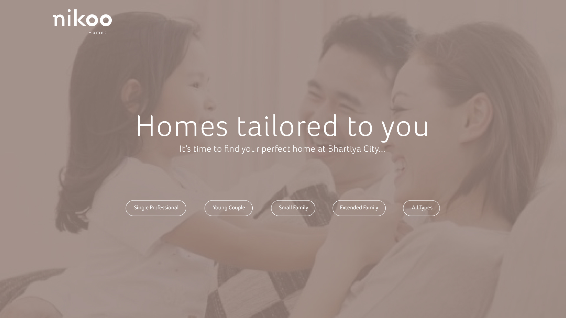 Website splash screen with personalised entry options | Property marketing | Nikoo Homes
