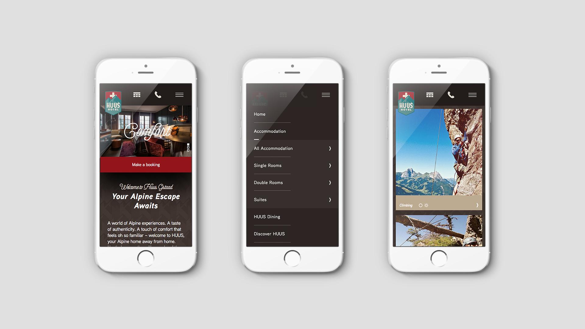 Luxury Hotel Marketing | HUUS Hotel | Three Mobile Phones Showing Design