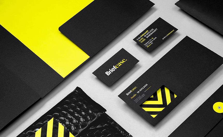 Black and yellow stationery for Briefcase by Anagrama | Viva Mexico!