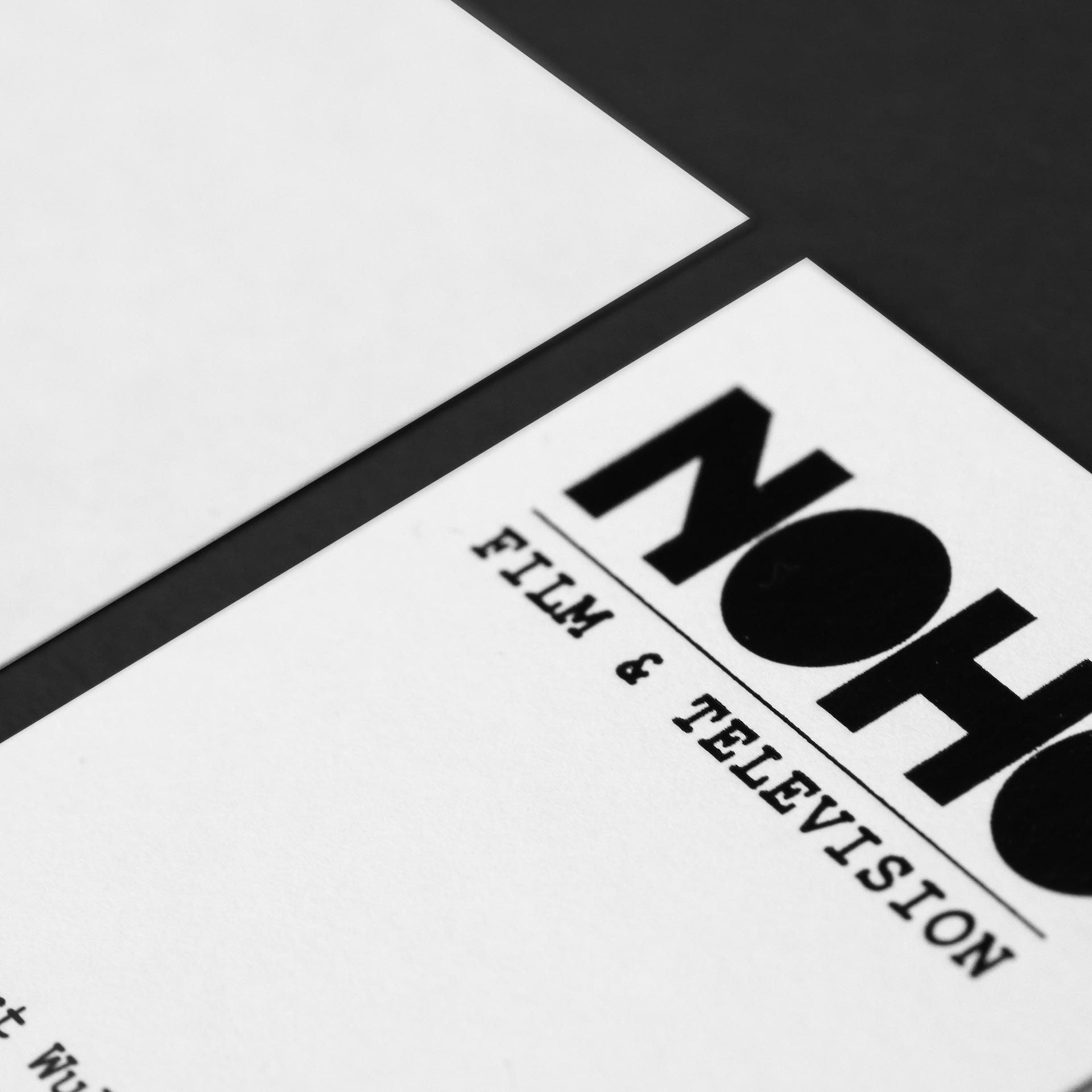 Logo in black foil on businesscard | Branding & Web Design | Noho Film & Television