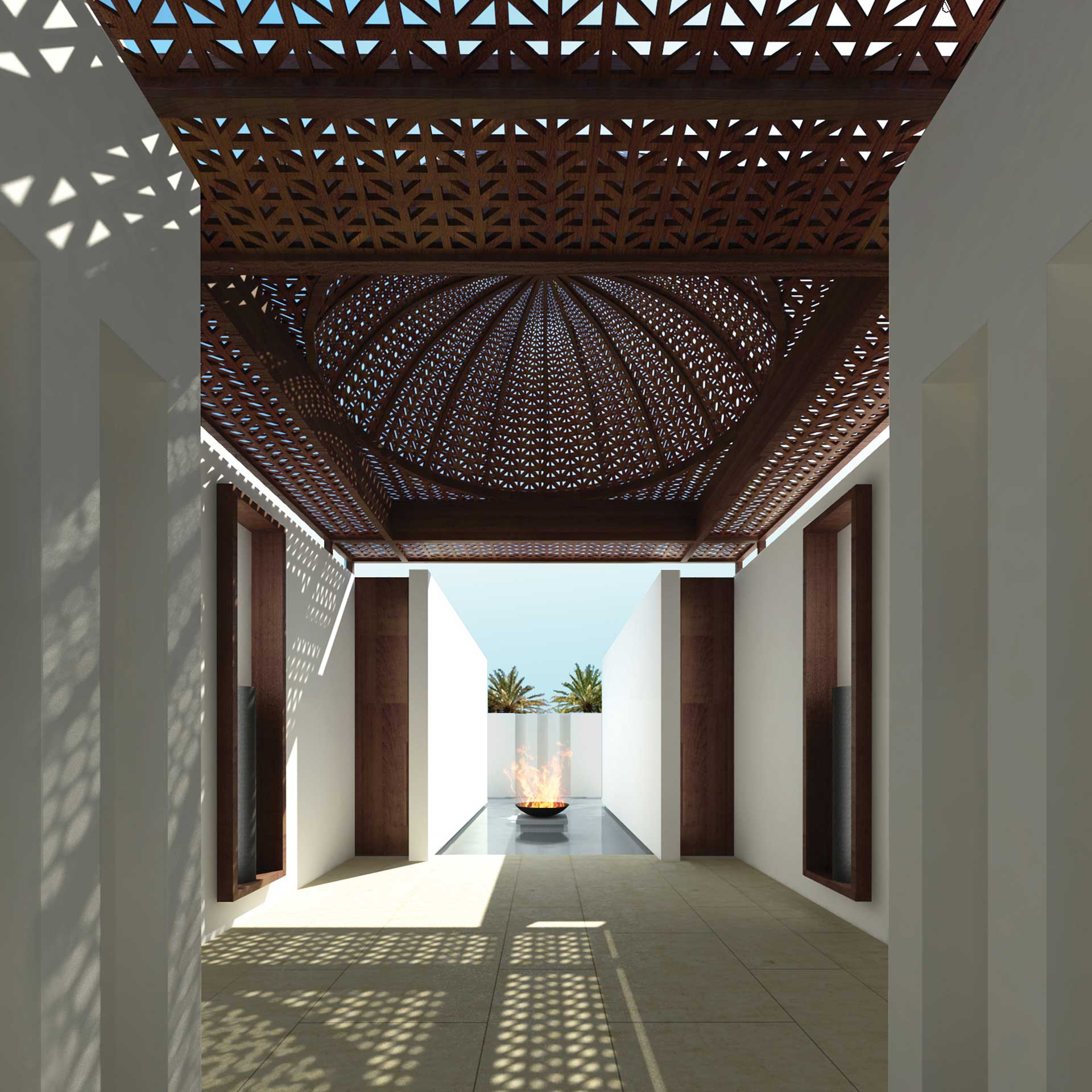 CGI view of resort spa entrance | Luxury resort marketing | The Malkai