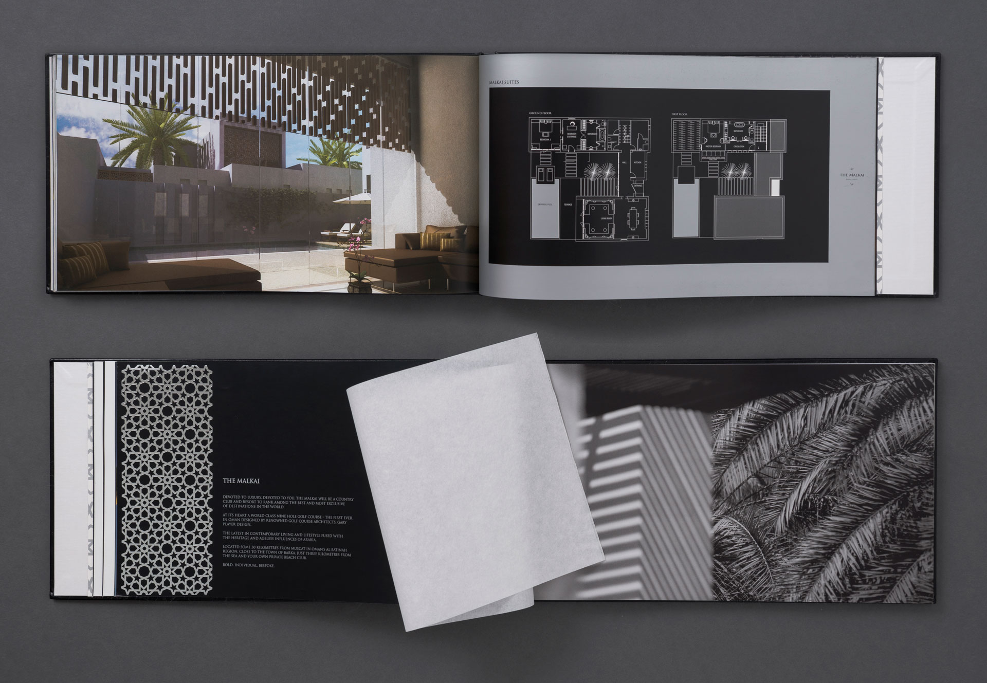 View of 2 brochure spreads | Luxury resort marketing | The Malkai