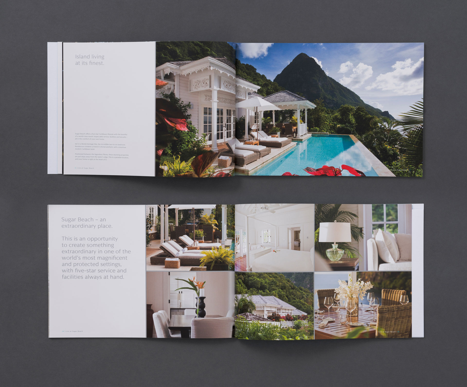 View of 2 brochure spreads | Luxury real estate marketing | Viceroy Sugar Beach