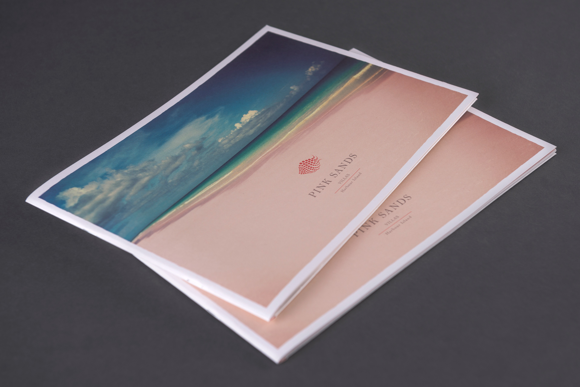 Pile of 2 brochures | Luxury real estate marketing | Pink Sands