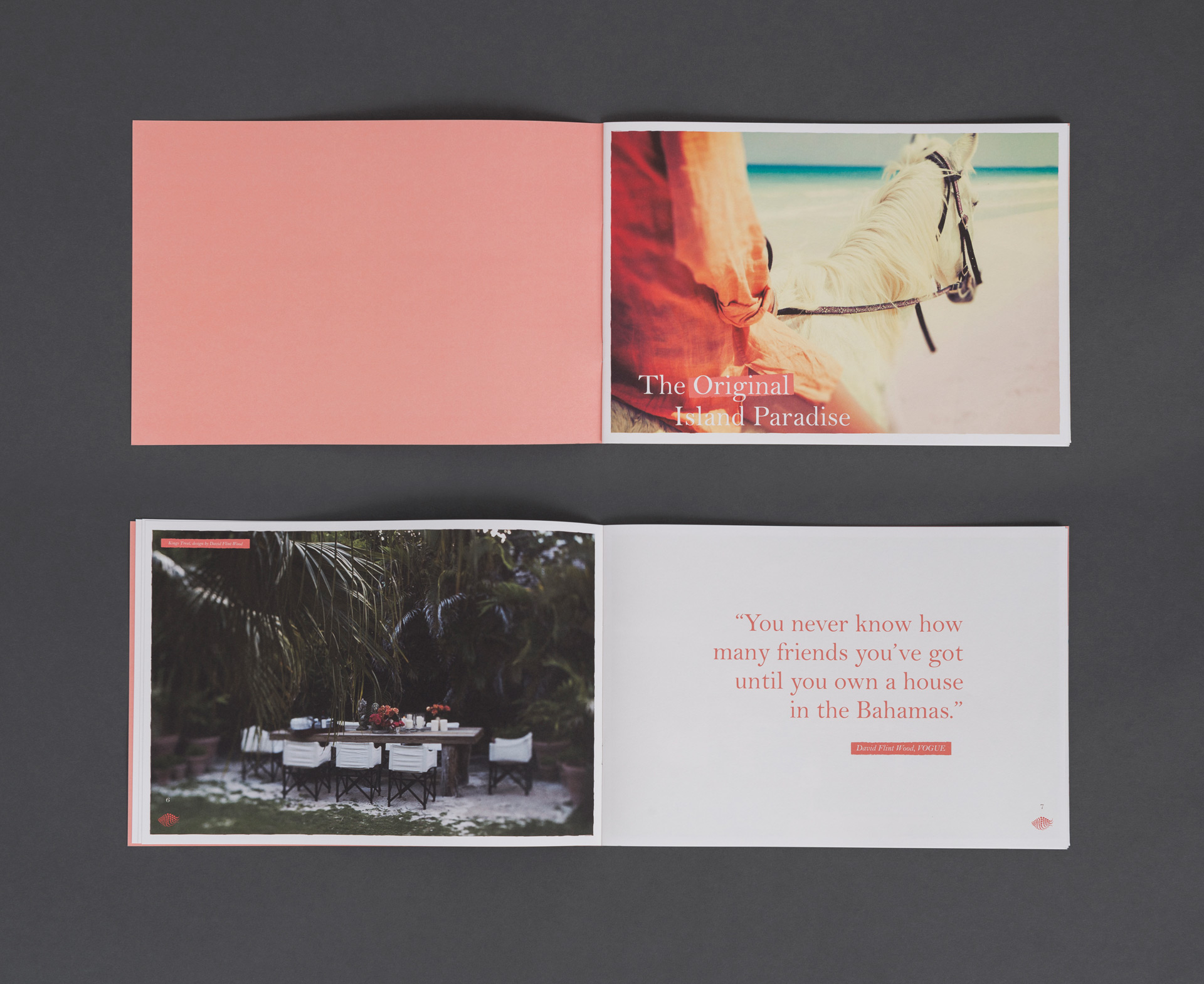 View of 2 brochure spreads | Luxury real estate marketing | Pink Sands