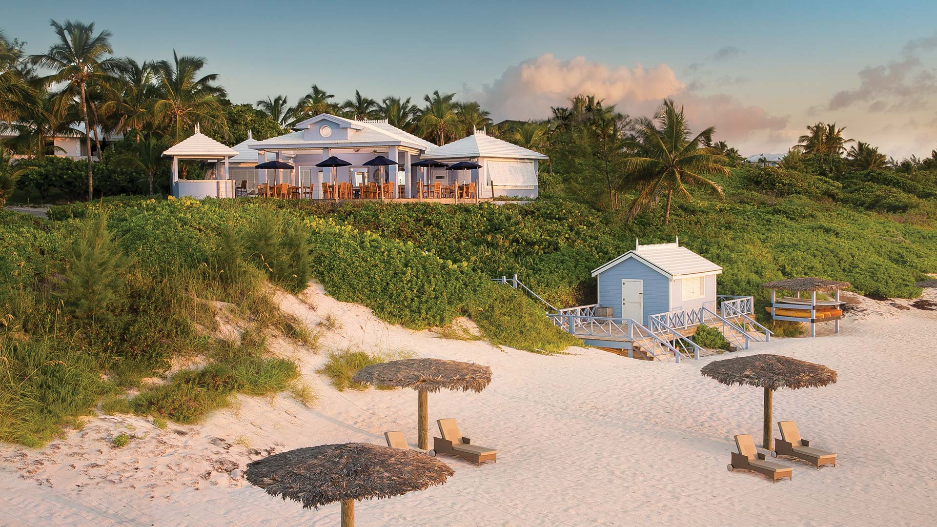View of the resort from Pink Sands beach | Luxury real estate marketing | Pink Sands