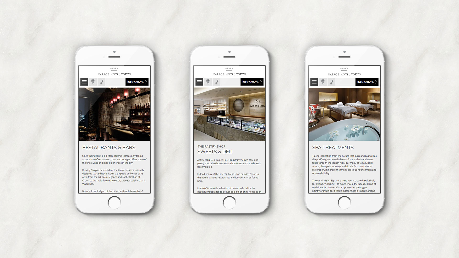 Website Design and Development | Palace Hotel Tokyo | iPhone